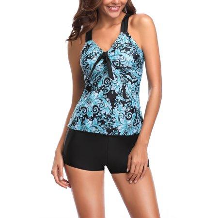 S-XXL Women Two Piece Swimwear Swimsuit Sexy Tankini Sets Beachwear Blue Floral Tummy Control Push Up Padded Bra Swimming Costumes Bathing Suit Plus Size