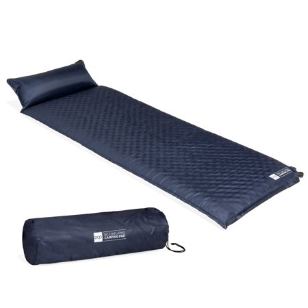 Best Choice Products Lightweight Compact Weather Resistant Self-Inflating Tufted Sleeping Travel Cushion Pad Mat for Camping, Hiking, Backpacking w/ Attached Pillow, Carrying Case - Blue