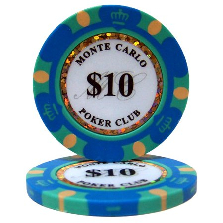 $10 Monte Carlo 14 Gram Poker Chips Monte Carlo Game Table