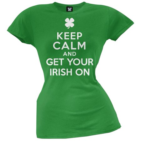 St. Patricks Day - Keep Calm and Get Your Irish On Juniors T-Shirt - Walmart St Patricks Day Shirts