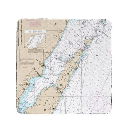 Betsy Drake CT14902DC 4 x 4 in. Door County, Green Bay, WI Nautical Map Coaster - Set of 4