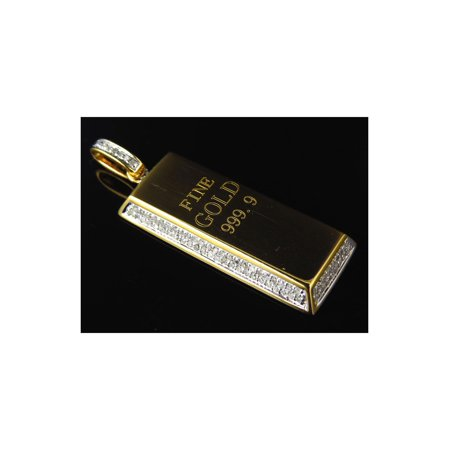 Genuine Diamond Miniature Gold Brick Pendant Pendant In Solid 10K Yellow Gold (0.75ct)