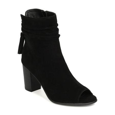 GK78 Women Faux Suede Peep Toe Tassel Chunky Heel Bootie
