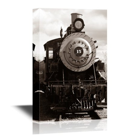 wall26 - Canvas Wall Art - Approaching Train - Gallery Wrap Modern Home Decor | Ready to Hang - 32x48 inches](Train Decor)