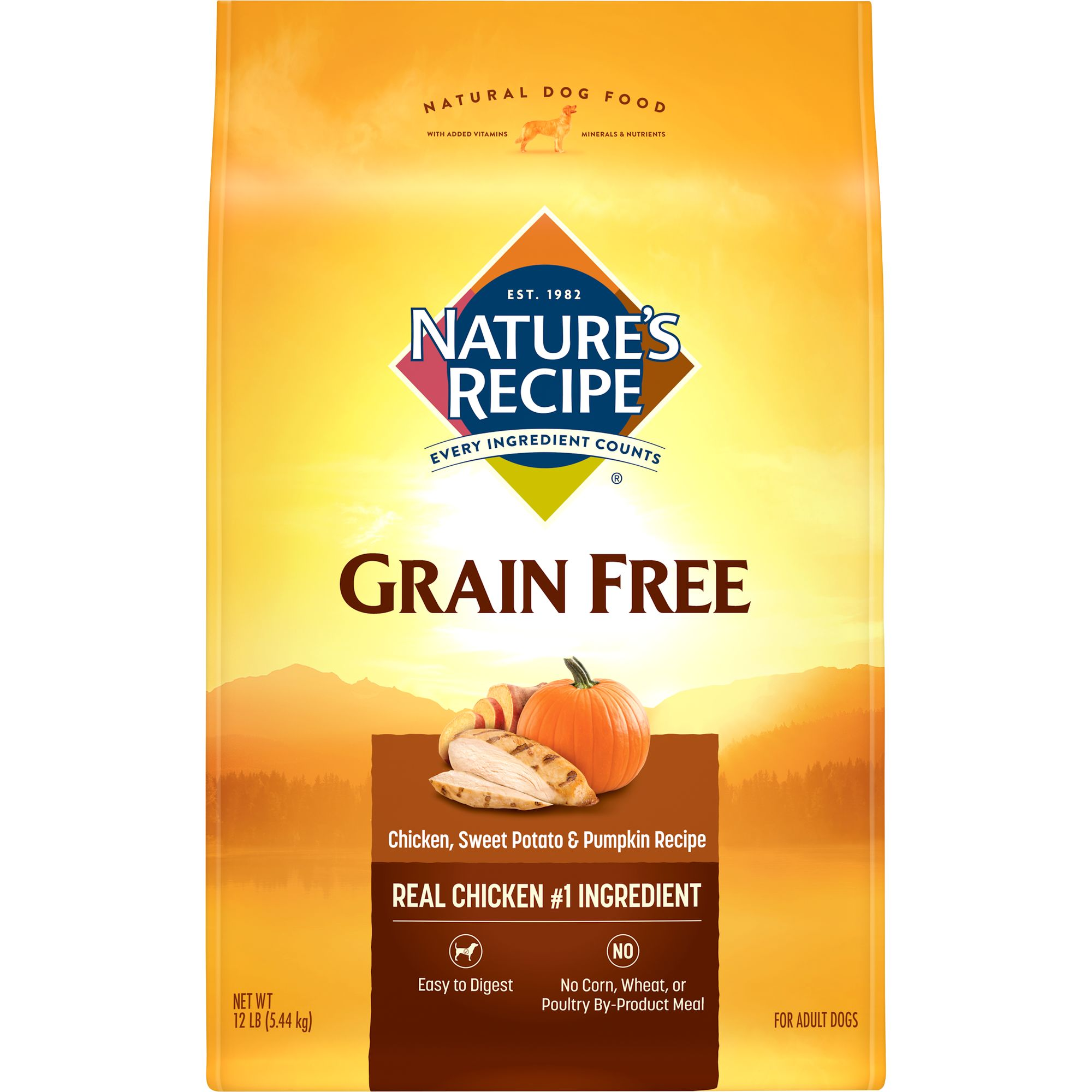 Nature's Recipe Grain Free Easy to Digest Chicken, Sweet Potato & Pumpkin Recipe Dry Dog Food, 12-Pound