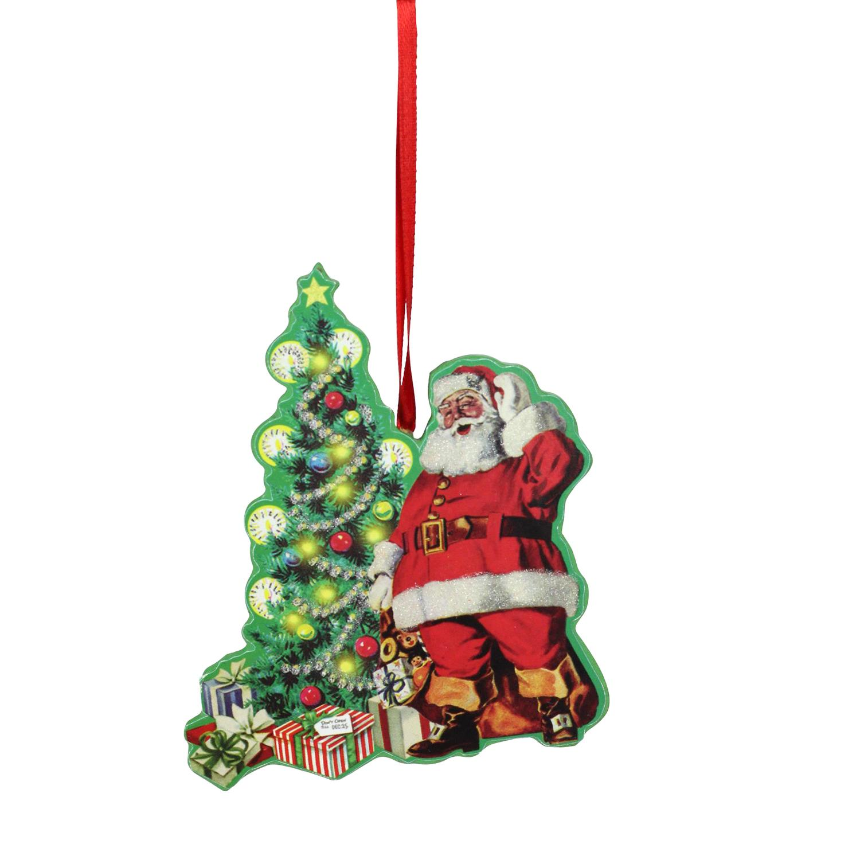 "Kurt S. Adler 4.5"" Retro Santa with Tree Christmas Ornament - Red/Green"