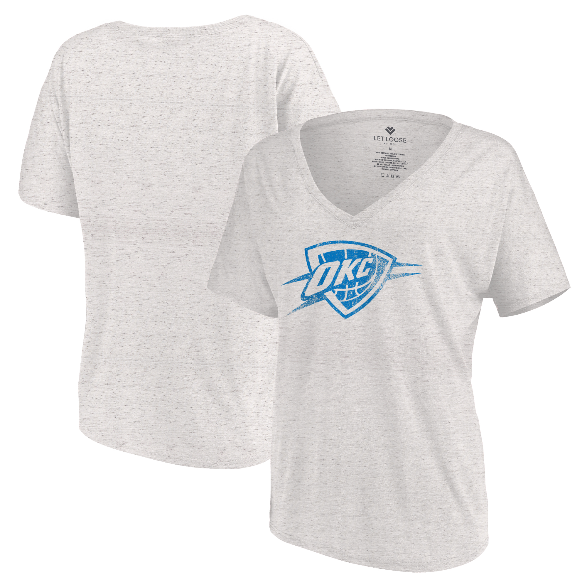 Oklahoma City Thunder Let Loose by RNL Women's Distressed Primary Logo V-Neck T-Shirt - White Marble