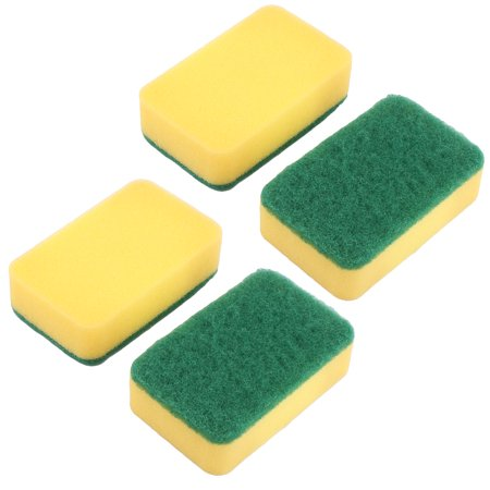 Household Kitchenware Sponge Bowl Pot Dish Wash Cleaning Scrub Pad 4 Pcs