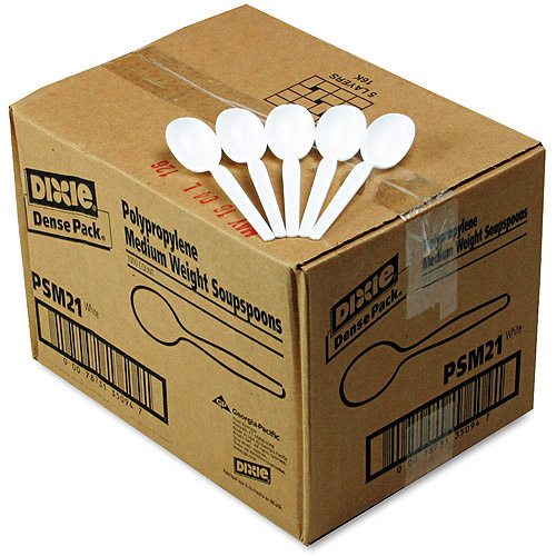Dixie Mediumweight Plastic Soup Spoons, 1000ct