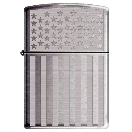 American Flag Laser Engraved High Polished Chrome Patriotic Zippo (American Lighter)