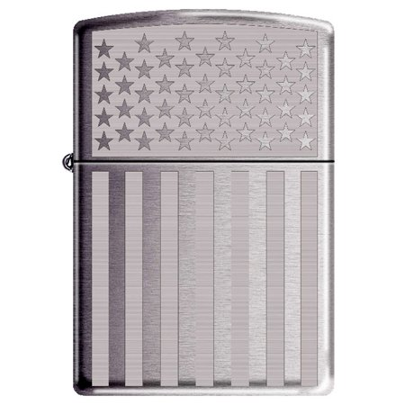 Zippo Lighter Laser (American Flag Laser Engraved High Polished Chrome Patriotic Zippo)