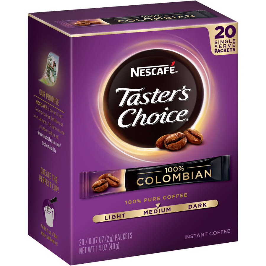 NESCAFE Taster's Choice 100% Colombian Instant Coffee, 0.07 oz, 20 count