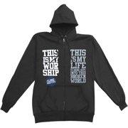 Close Your Eyes Men's My Worship My Life Zippered Hooded Sweatshirt Large Black