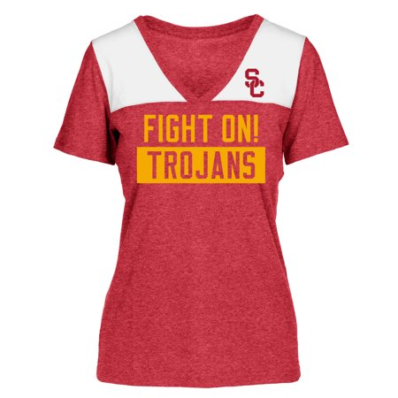 Women's Heathered Cardinal/White USC Trojans Rayna V-Neck T-Shirt