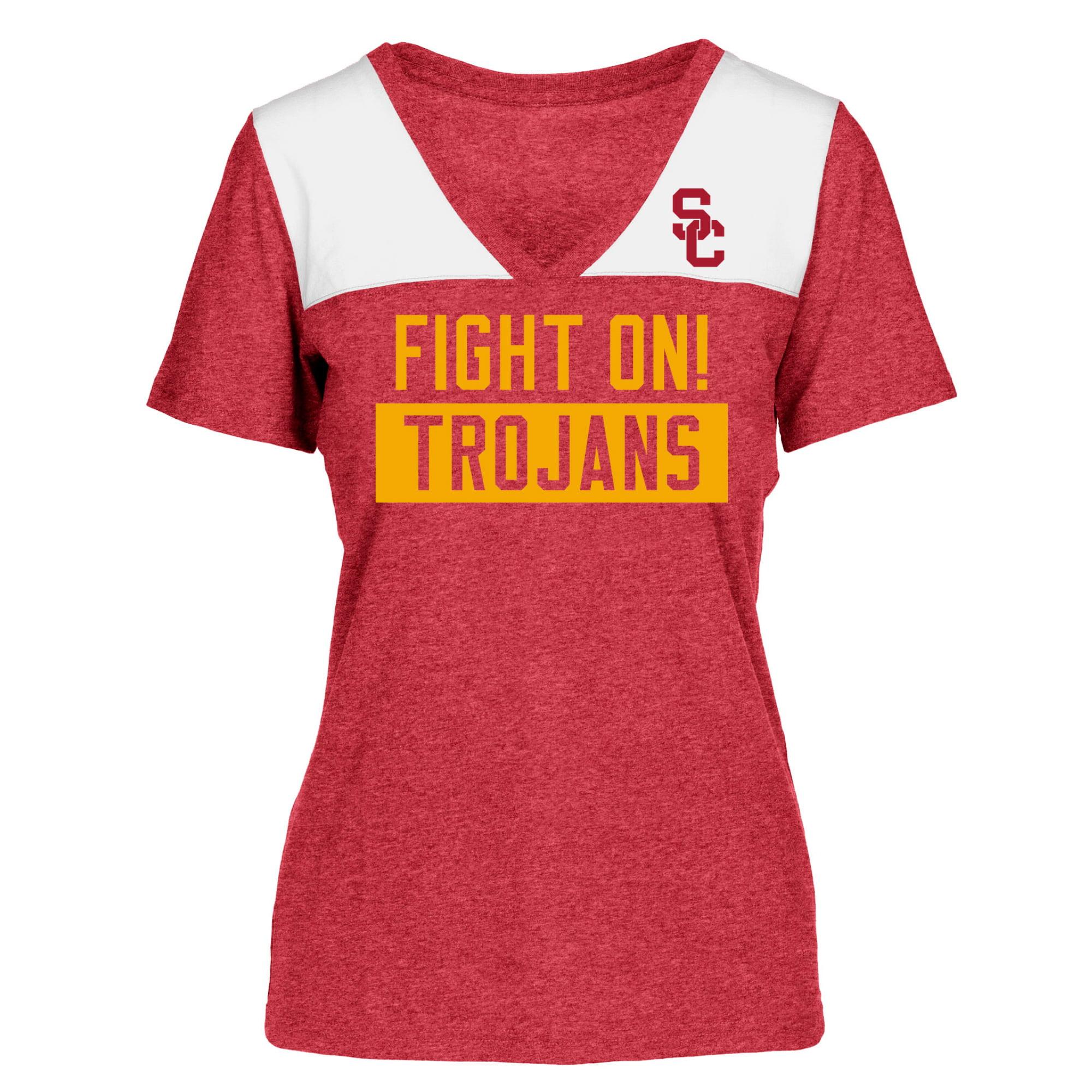 Women's Heathered Cardinal/White USC Trojans Rayna V-Neck T-Shirt