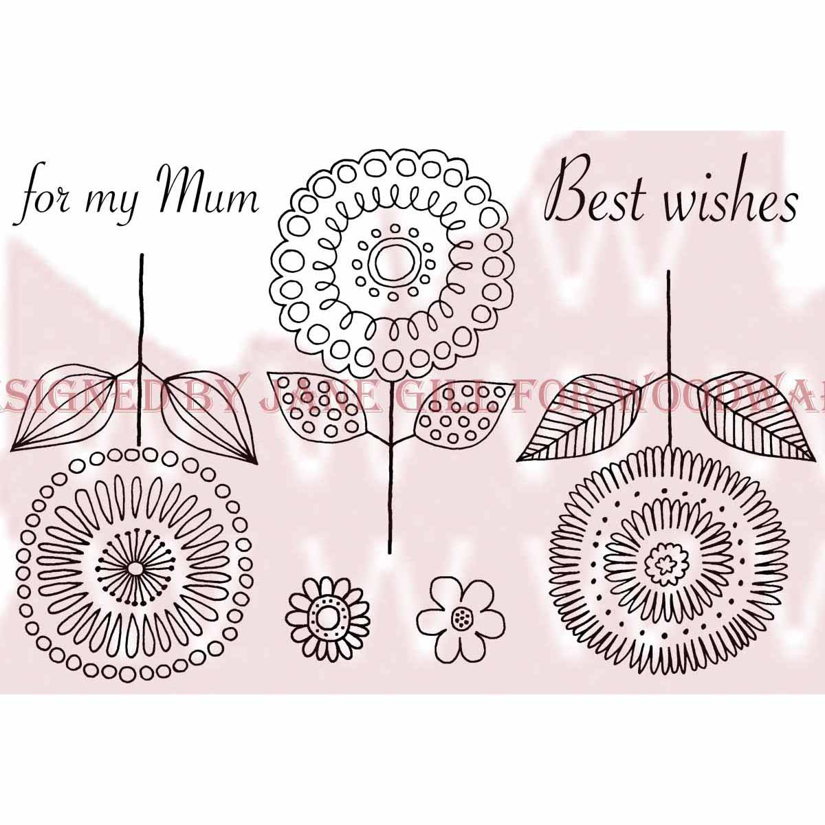 "Woodware Clear Stamps 3.5""X5.5""-Loopy Flowers"