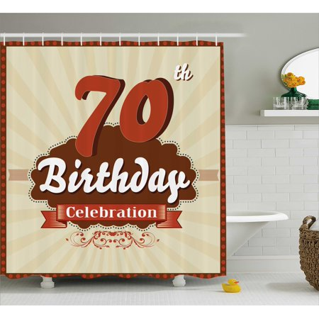70th Birthday Decorations Shower Curtain, Vintage Candy Store Inspired 70 Birthday Celebration, Fabric Bathroom Set with Hooks, 69W X 70L Inches, Brown and Cinnamon, by Ambesonne
