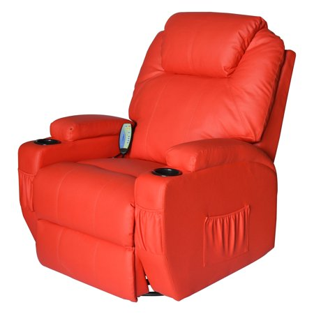 HomCom Heating Vibrating PU Leather Massage Recliner Chair