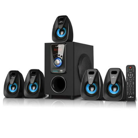 beFree Sound BFS-400 5.1 Channel Surround Sound Bluetooth Speaker System in Black and