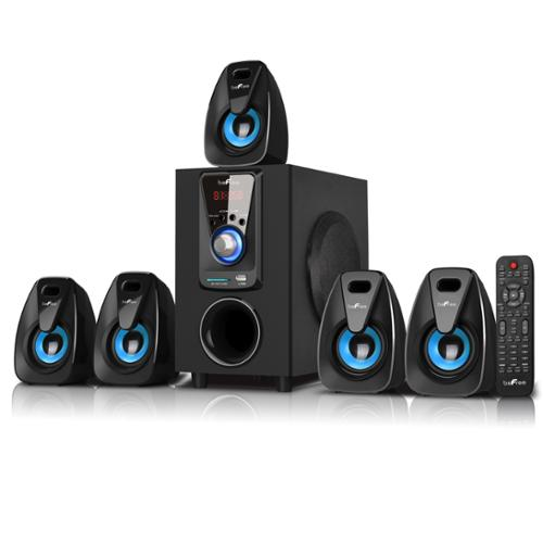 beFree Sound BFS-400 5.1 Channel Surround Sound Bluetooth Speaker System in Black and Blue