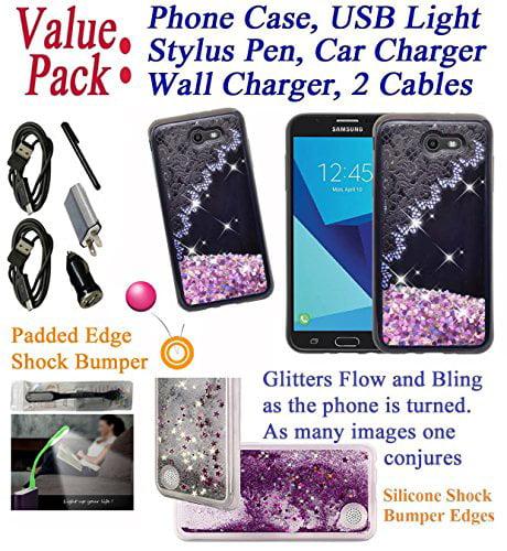 """Value Pack + for 5.5"""" Samsung Galaxy J7 2017 SKY PRO Halo PERX J7 V Case Glitter Phone Case Flowing Sparkle Scratch Slip Shield TPU Slim Cover Garter Lace"" for Samsung Galaxy J7 2017 SKY PRO PERX J7V Phone Case Cover"