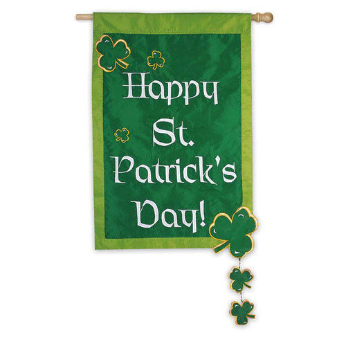 House Size Applique Flag, Happy St. Pat. Day, 28x44 Inches