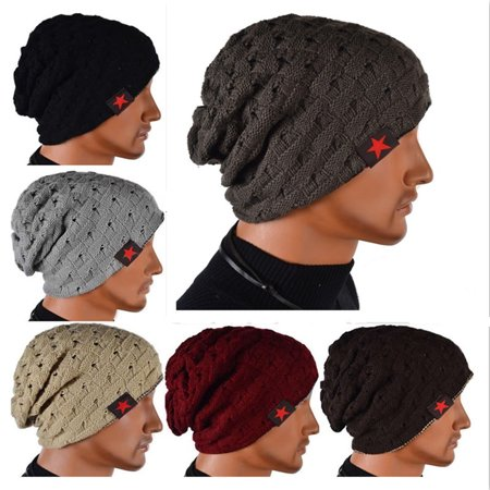 Unisex Men Women Winter Skull Chunky Knit Beanie Reversible Baggy Cap Warm Hat Wear It on Both Sides