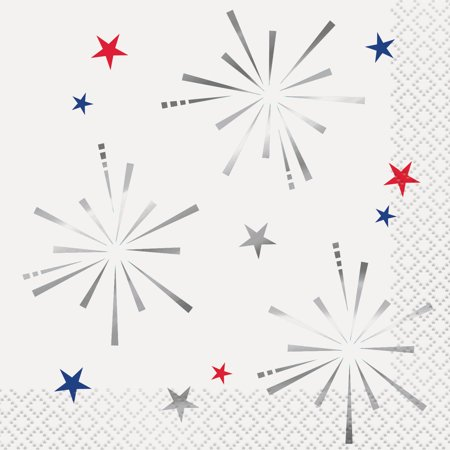 4th Of July Wedding Ideas (Foil Fireworks 4th of July Paper Beverage Napkins, 5 in,)