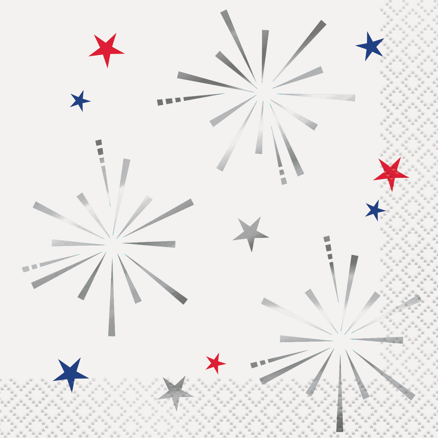 Foil Fireworks 4th of July Paper Beverage Napkins, 5 in, 16ct
