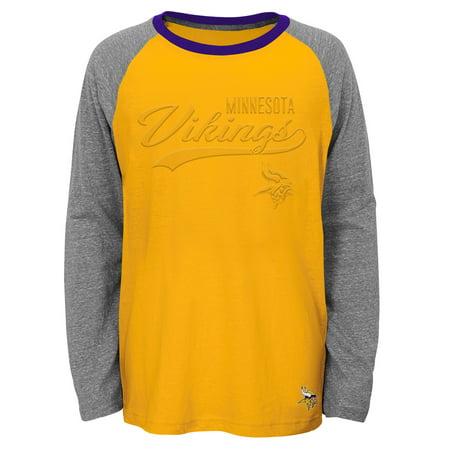 new arrival 535b1 bba0b Youth Gold Minnesota Vikings Long Sleeve Raglan T-Shirt