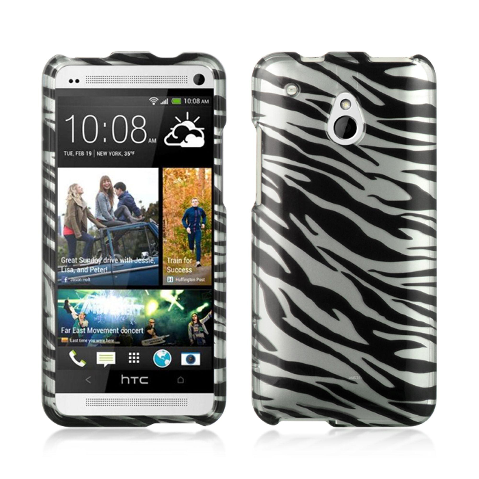 Insten Hard Rubber Case For HTC One Mini - Silver/Black