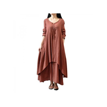 Lavaport Womens Ethnic Boho Cotton Linen Long Sleeve Maxi Dress Gypsy Dresses (Gypsy Dress Up Ideas)