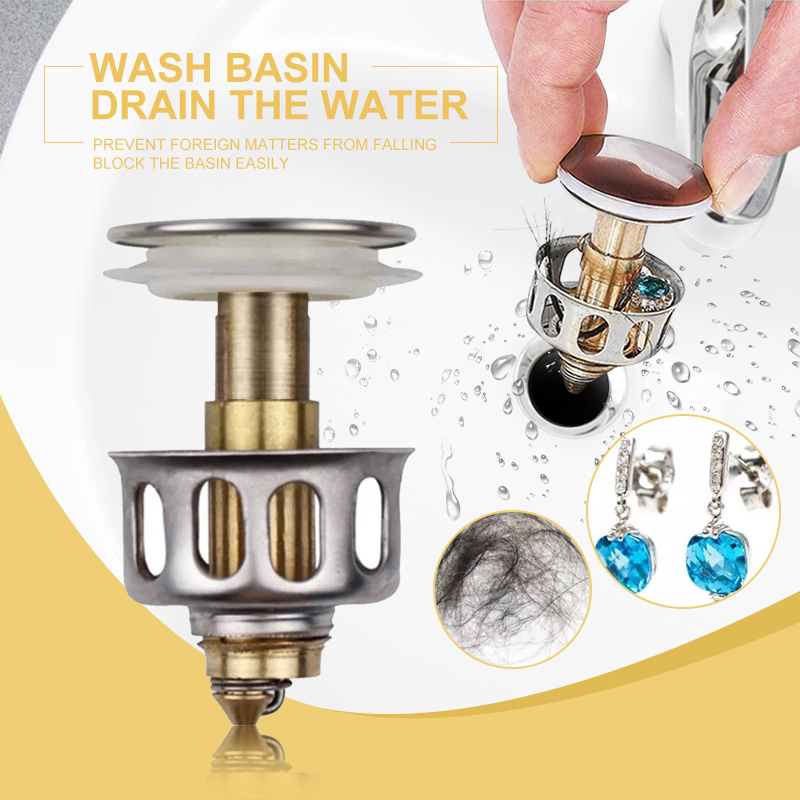 Stainless Steel Push-type Bounce Core Universal Wash Basin Bounce Drain Filters