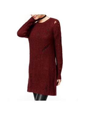 7a7f528591 Product Image Planet Gold Juniors  Ripped Sweater Tunic (Windsor Wine