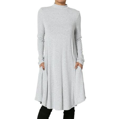 TheMogan Women's S~3X Long Sleeve Mock Neck Draped Jersey Pocket Fit & Flare Dress (Draped Bubble Dress)