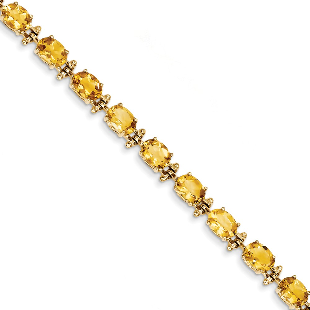 14K Yellow Gold Oval Cut Citrine Bracelet by