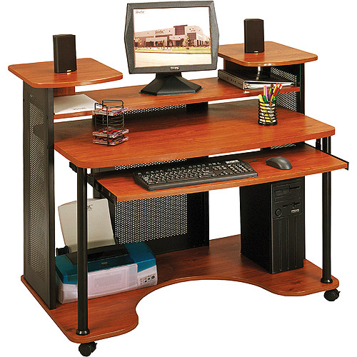 Sauder Saturn Multi-Level Computer Workstation, Black and Cherry