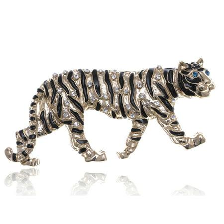 Shiny Gold Tone Clear Crystal Rhinestone Stripe Predator Tiger Cat Pin Brooch