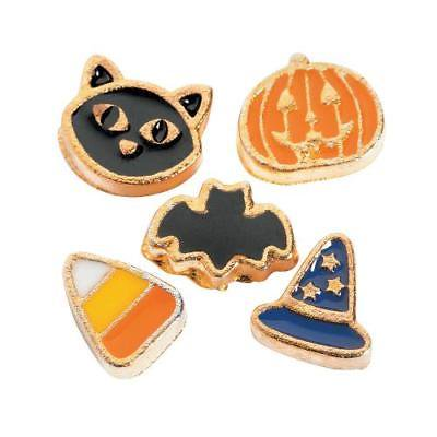 IN-13704076 Goldtone Halloween Floating Locket Charms 5 Piece(s) 2PK