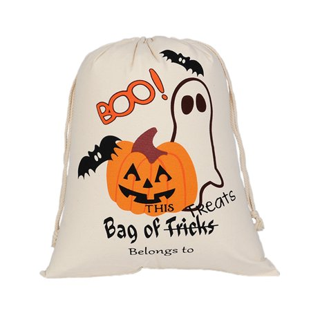 Aspire 6 PCS Halloween Durable Canvas Drawstring Bags Trick Candy Storage Reusable Present Bag