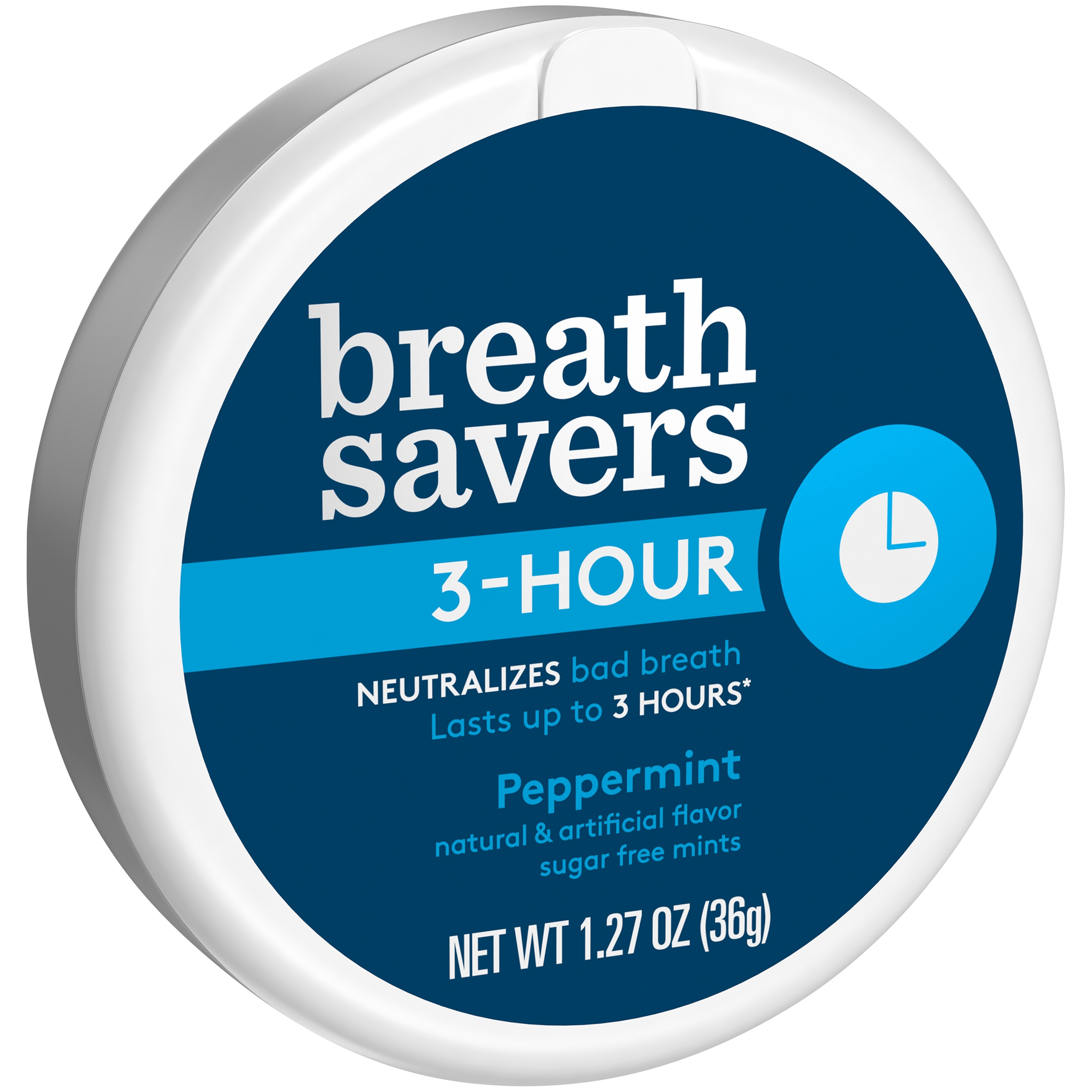 Breath Savers 3-Hour Peppermint Sugar Free Mints 1.27 oz. Plastic Container