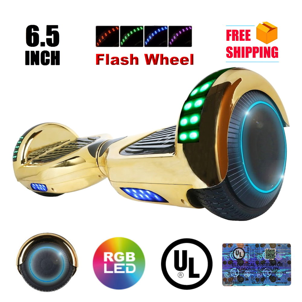 "UL2272 Certified TOP LED 6.5"" Hoverboard Two Wheel Self Balancing Scooter Chrome GOLD"