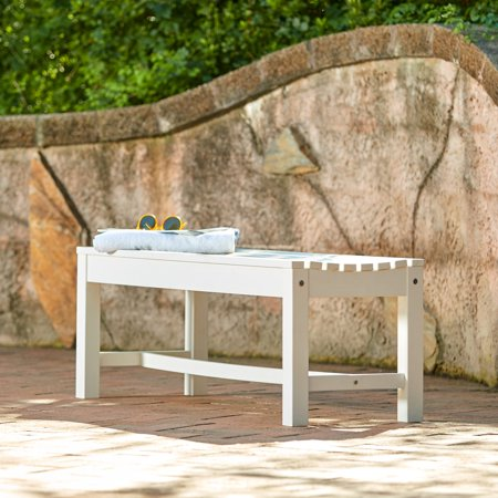Magnificent Shine Company 4 Ft Outdoor Backless Plastic Bench White Ibusinesslaw Wood Chair Design Ideas Ibusinesslaworg