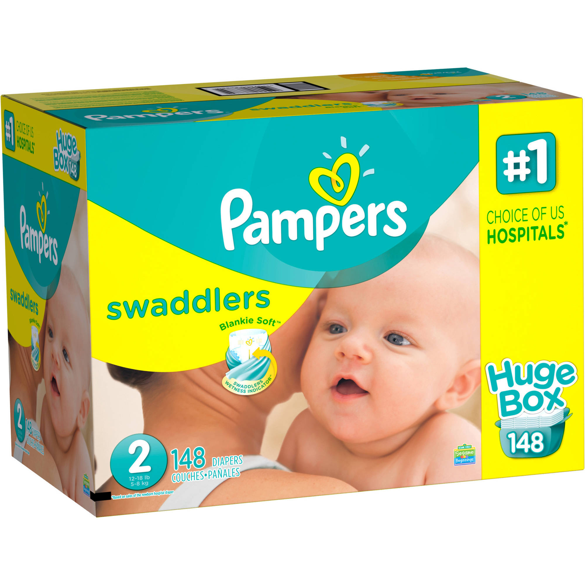 Pampers Swaddlers Diapers, Size 2, 148 Diapers - Walmart.com