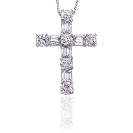 14K White Gold 1/2 ct. Round and Baguette Cut Diamond Cross Pendant with Chain White Gold Round Diamond Cross