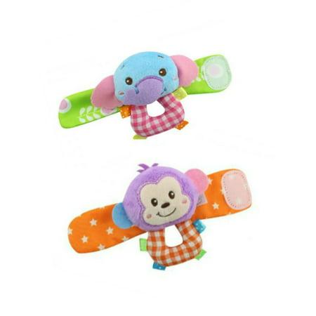 Lavaport 2Pcs Baby Infant Wrist Rattle Toys Hand Finder,Monkey Panda Elephant A Baby Elephant Rattle