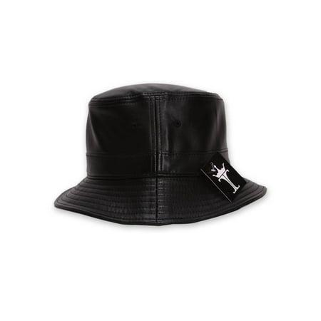 TopHeadwear Faux Leather Bucket Hat - Black - Walmart.com 4fa6f63a0c6