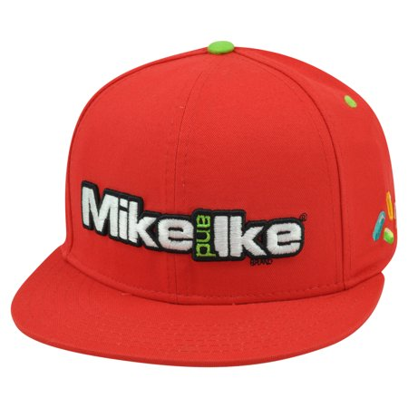 Mike And Ike Candy Brand Chewy Fruit Novelty Red Flat Bill Snapback Hat Cap - Fruit Hat