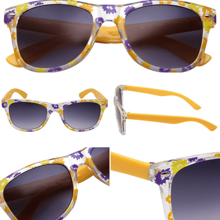Yellow Party Sunglasses - Neon Assorted Pattern Novelty Frame For ...