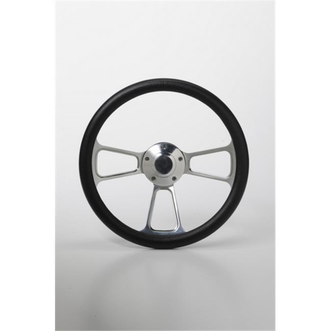 StentensGolf SWF1098 14 in. Steering Wheel Textured Wrap - Muscle Chrome & Black